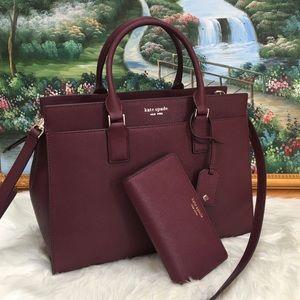 Kate Spade LG leather satchel set